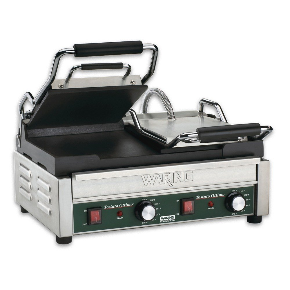 "Waring WFG300T 17"" x 9 1/4"" Tostato Ottimo Smooth Top & Bottom Dual Panini Sandwich Grill with Timer - 240V"