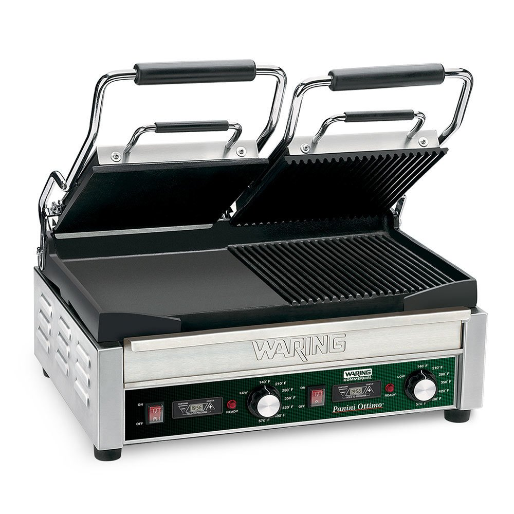 "Waring WDG300T 9 1/4"" x 17"" Panini Sandwich Grill with Two Grooved Plates, Two Smooth Plates, and Timer - 240V"