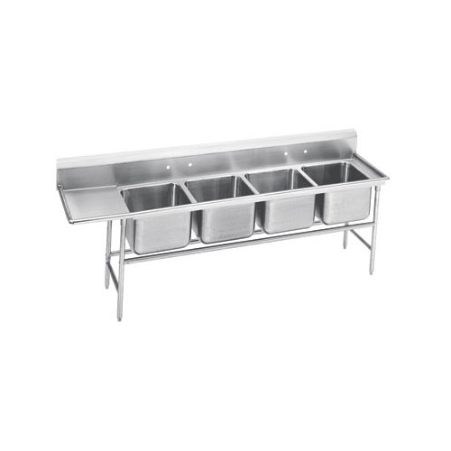 Advance Tabco 94-24-80-24 Spec Line Four Compartment Pot Sink with One Drainboard - 117""