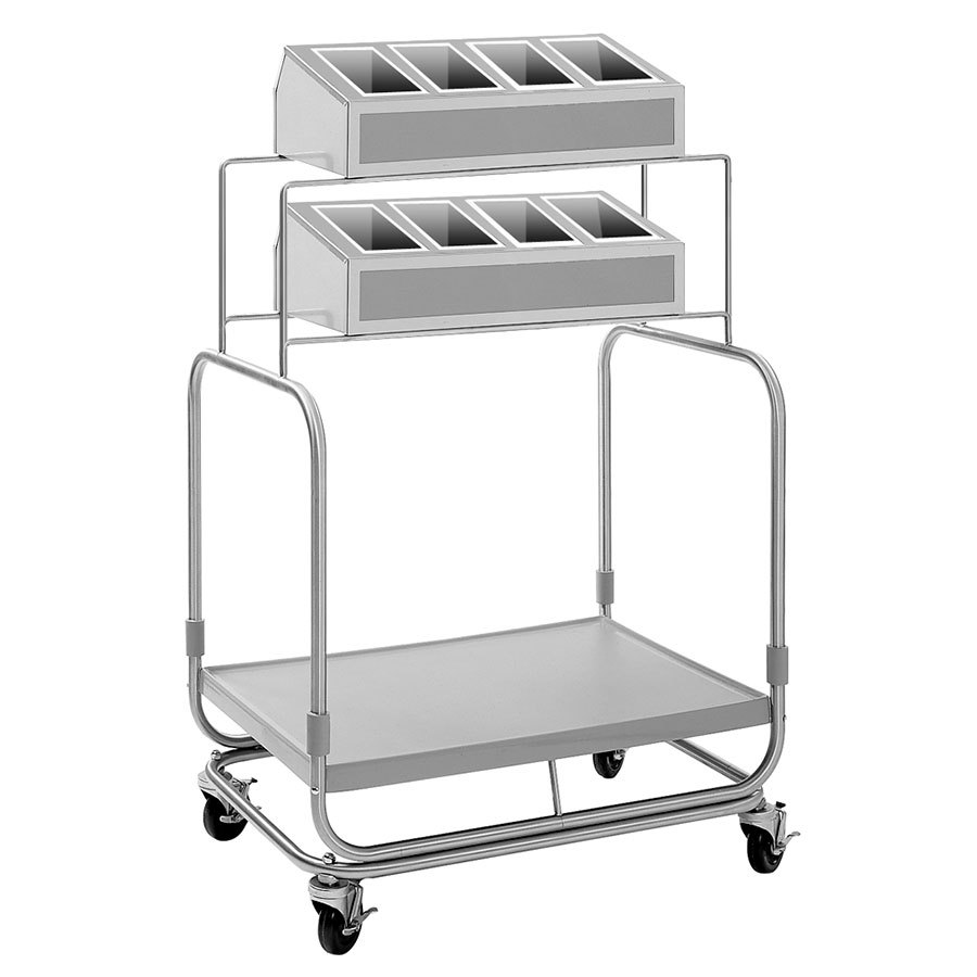Delfield UTSP-2 Tray and Silverware Cart with 8 Silverware Pans and Fiberglass Tray Shelf