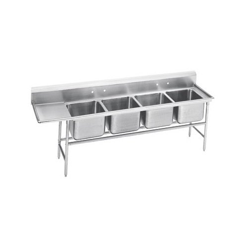 Advance Tabco 94-64-72-36 Spec Line Four Compartment Pot Sink with One Drainboard - 121""