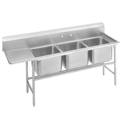 Advance Tabco 94-83-60-24 Spec Line Three Compartment Pot Sink with One Drainboard - 95""