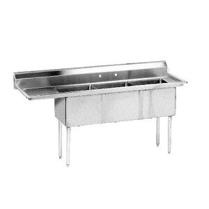 Advance Tabco FE-3-1812-18 Three Compartment Stainless Steel Commercial Sink with One Drainboard - 74 1/2 inch