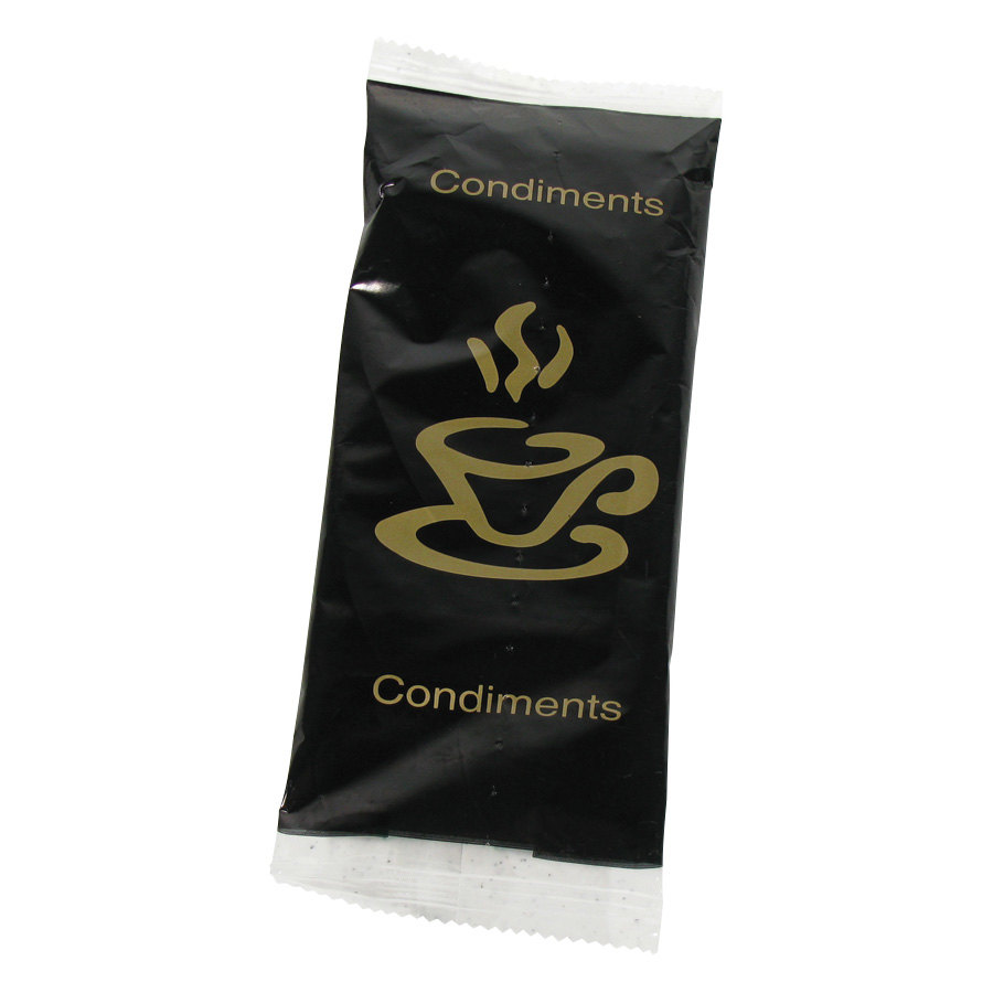 Double Serving Hot Beverage Condiment Kit with Napkin and Black / Gold Packaging - 500/Case