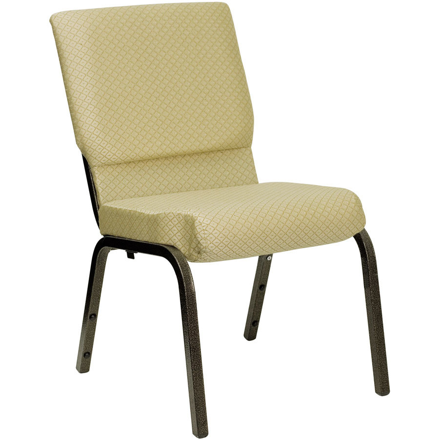"Beige 18 1/2"" Wide Church Chair with Gold Vein Frame"