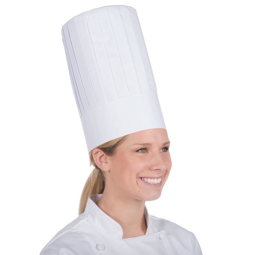 "Royal Paper RCH12 12"" Pleated Disposable Chef Hat - 24/Case"