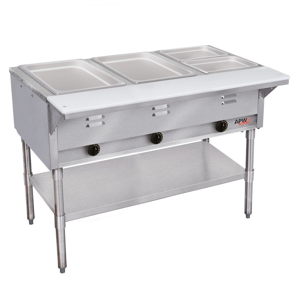 APW Wyott GST-5 Champion Open Well Five Pan Gas Steam Table - Galvanized Undershelf and Legs