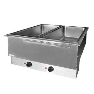 APW Wyott HFWAT-2 Insulated Two Pan Drop In Hot Food Well with Attached Controls and Plug