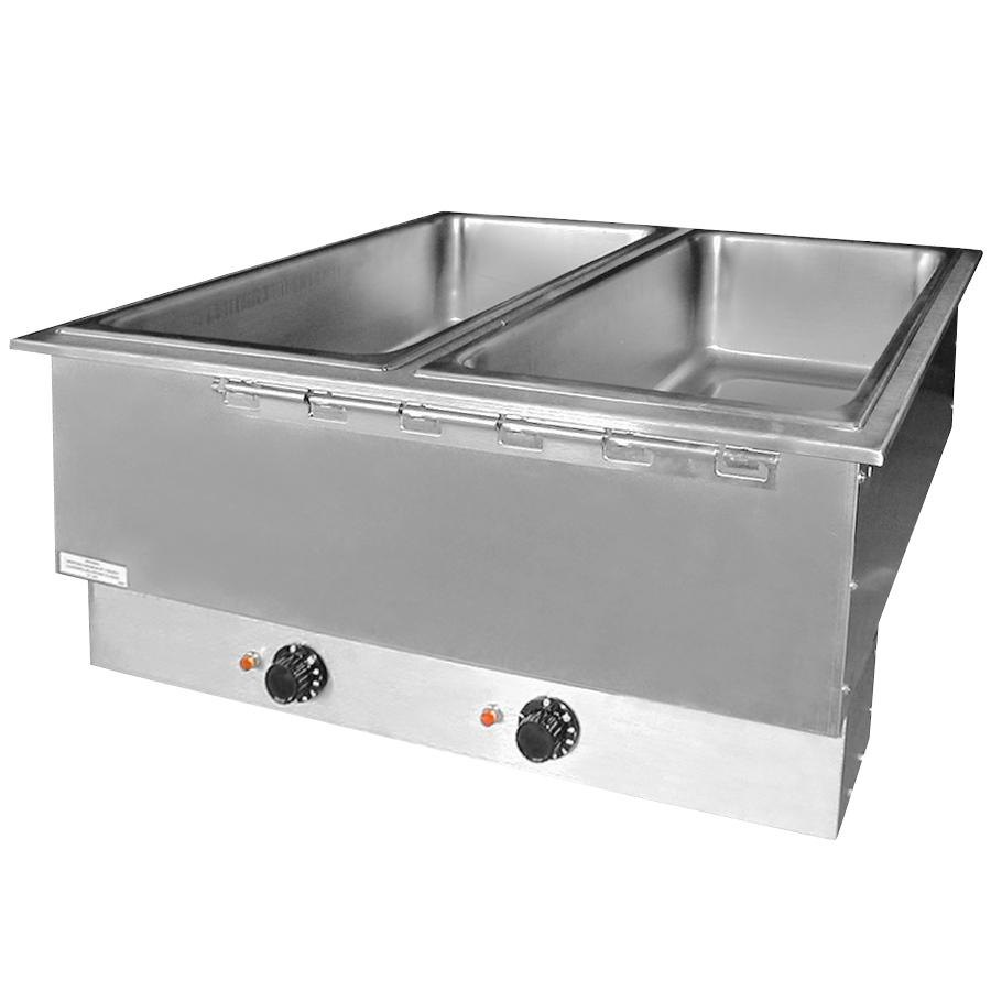 APW Wyott HFWAT-6D Insulated Six Pan Drop In Hot Food Well with Drain and Attached Controls and Plug