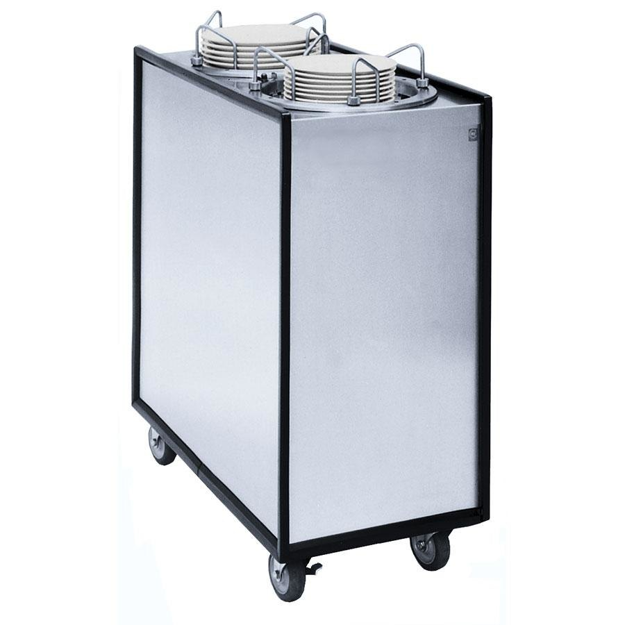 "APW Wyott Lowerator HML2-9A Mobile Enclosed Adjustable Heated Two Tube Dish Dispenser for 3 1/2"" to 9 1/8"" Dishes"