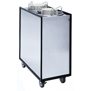 "APW Wyott Lowerator HML3-9A/12A/12A Mobile Enclosed Adjustable Heated Three Tube Dish Dispenser for 3 1/2"" to 12"" Dishes"