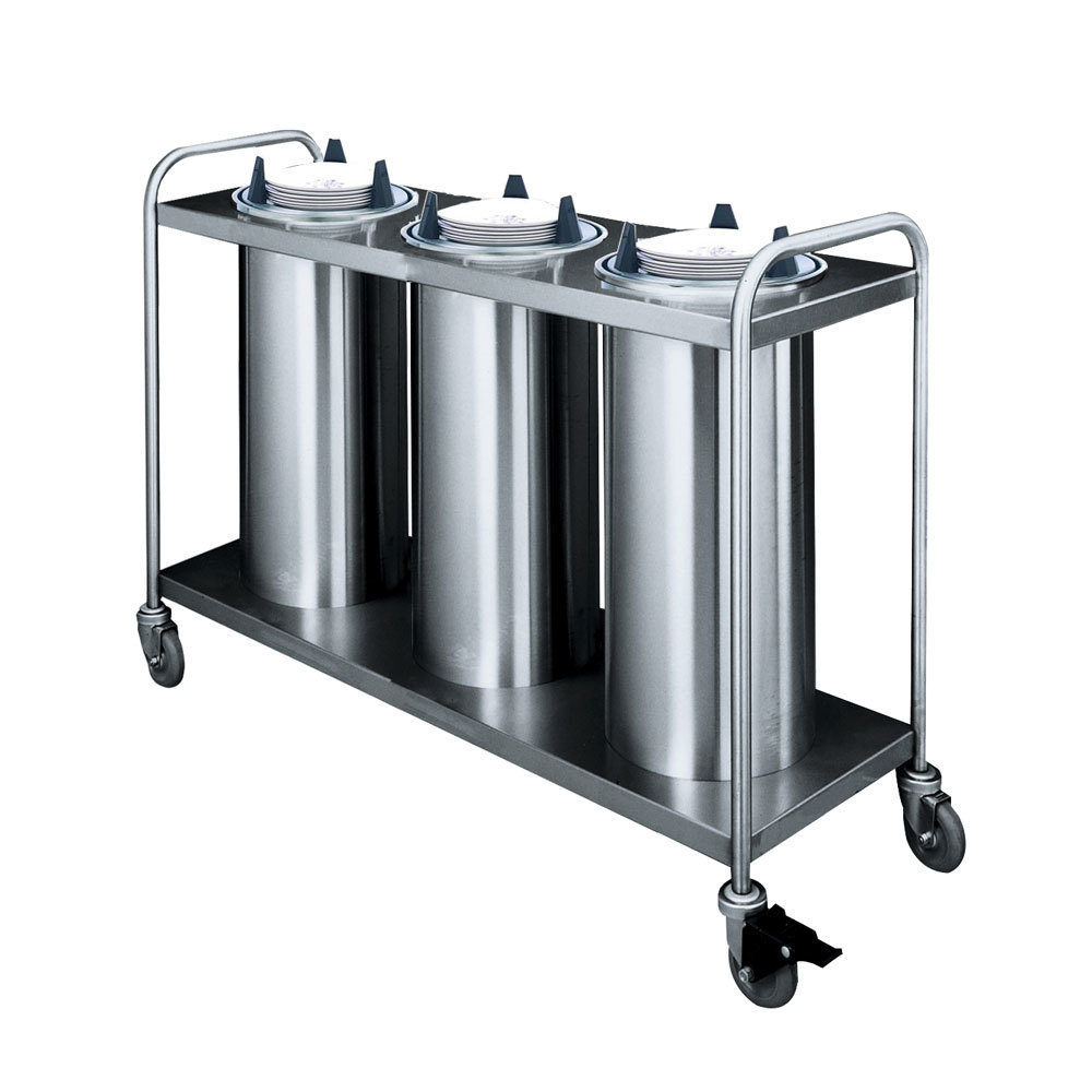 "APW Wyott HTL3-9 Trendline Mobile Heated Three Tube Dish Dispenser for 8 1/4"" to 9 1/8"" Dishes"