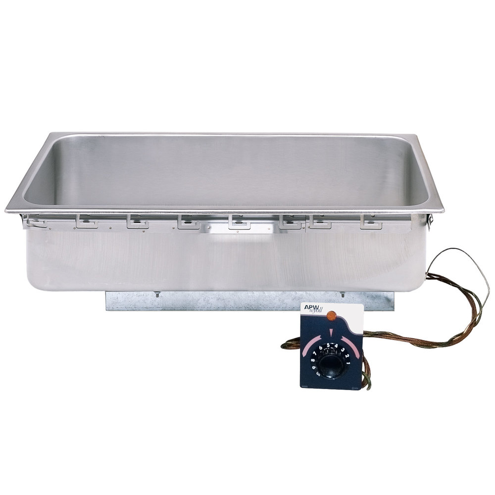 APW Wyott TM-43D 4/3 Size Uninsulated One Pan Drop In Hot Food Well with Drain