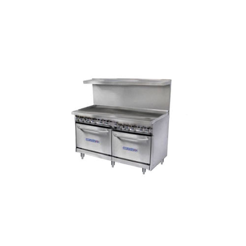 "Bakers Pride Restaurant Series 48-BP-0B-G48-S20 Gas Range with Two Space Saver 20"" Ovens and 48"" Griddle"