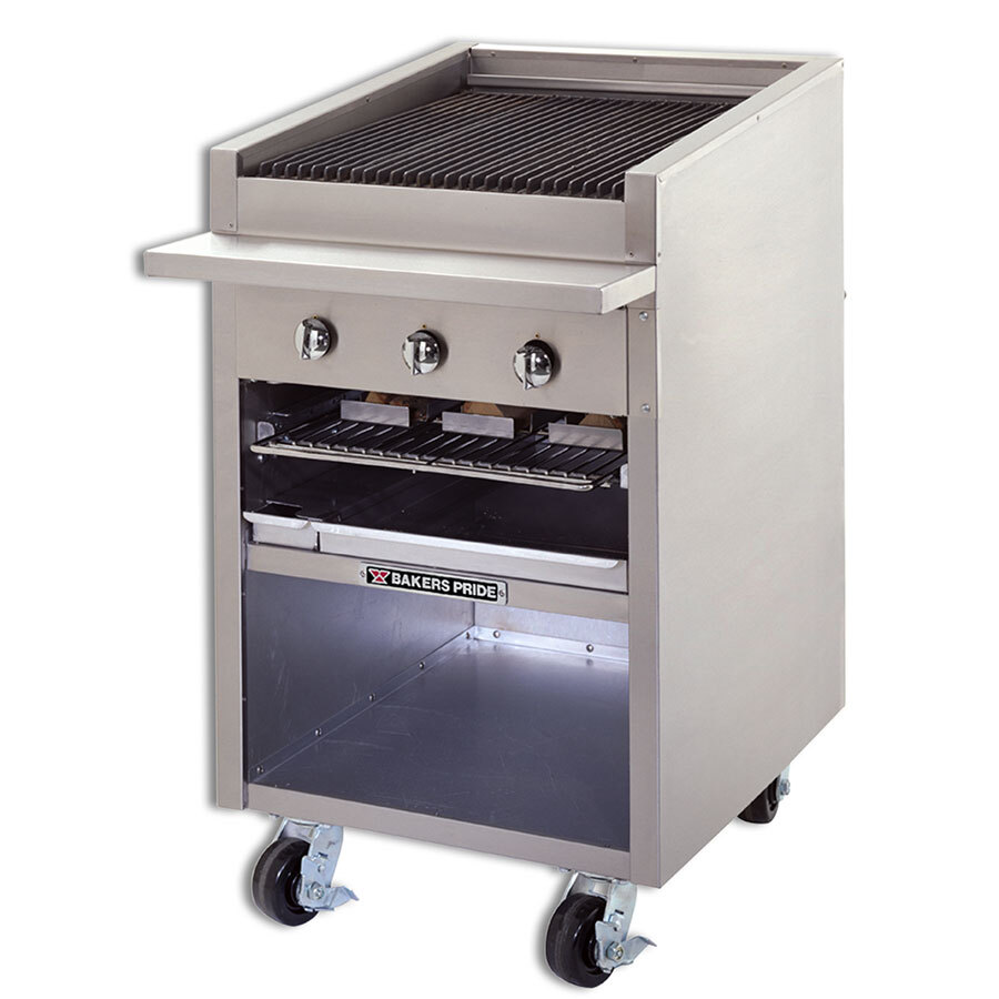 Bakers Pride F-24GS Gas Floor Model Glo Stone Charbroiler High Performance 24 inch - 90,000 BTU