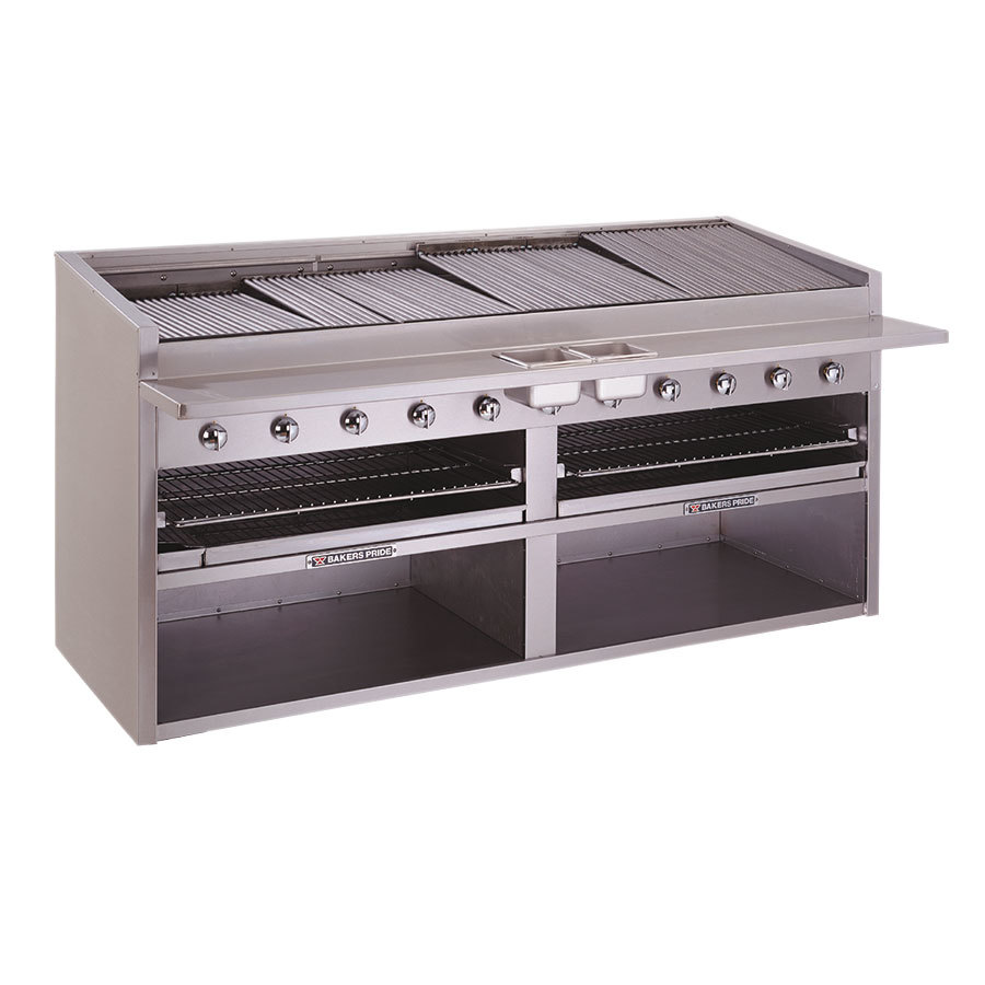 Bakers Pride F-84GS Gas Floor Model Glo Stone Charbroiler High Performance 84 inch - 360,000 BTU