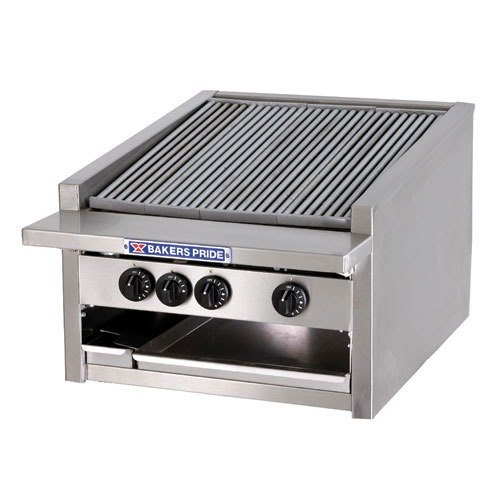 Bakers Pride L-24GS Gas Countertop Glo Stone Charbroiler High Performance Low Profile 24 inch - 90,000 BTU
