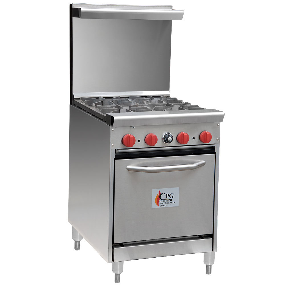 Cooking Performance Group 24-CPGV-4B-S20 4 Burner Gas Range with 20 inch Space Saver Oven