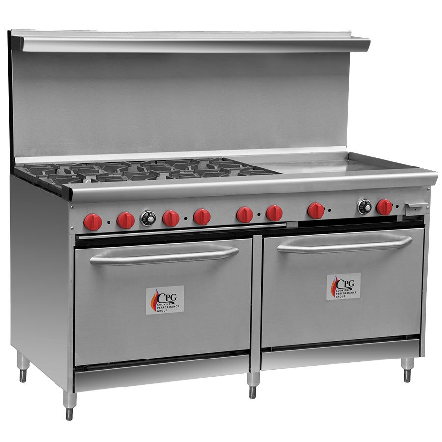 Cooking Performance Group 60-CPGV-6B-24G-S26 6 Burner Gas Range with 24 inch Griddle and Two 26 1/2 inch Standard Ovens