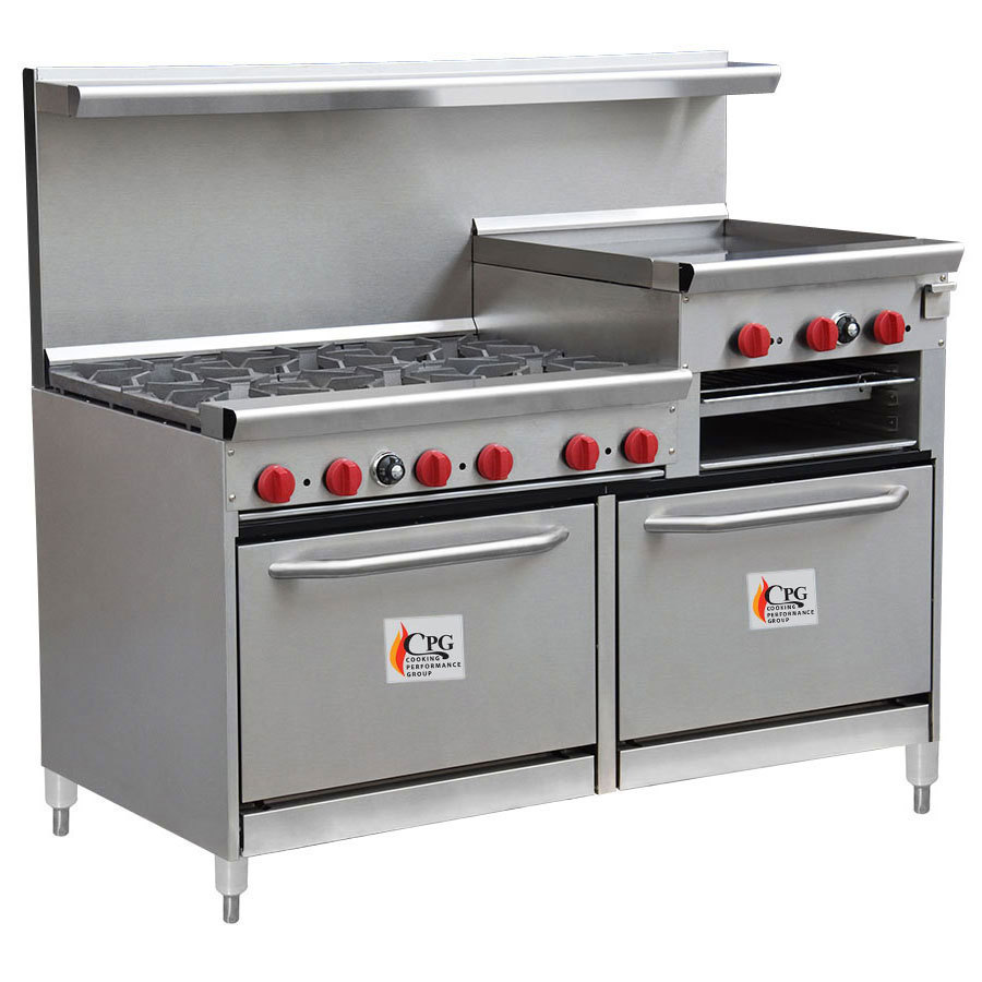 "Cooking Performance Group 60-CPGV-6B-24RG-S26 6 Burner 60"" Gas Range with 24"" Raised Griddle/Broiler and Two 26 1/2"" Standard Ovens"