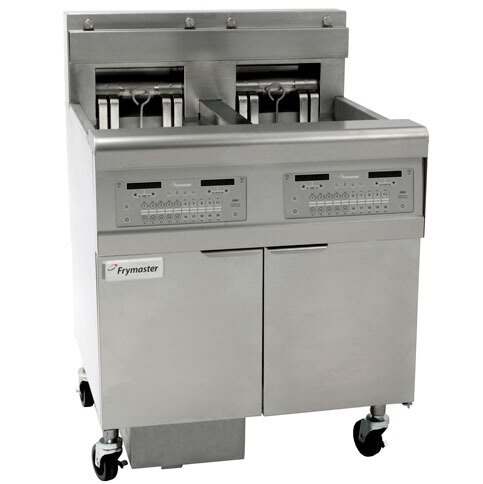 Frymaster FPEL317-4RCA Electric Floor Fryer with Full Left Frypot / Two Right Split Pots and Automatic Top Off - 17 kW