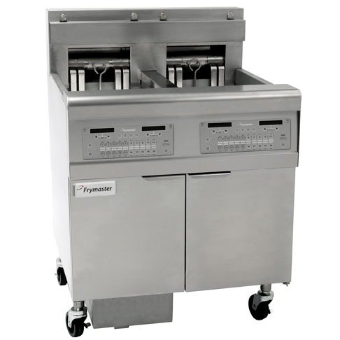 Frymaster FPEL314-2RC Electric Floor Fryer with Two Full Left Frypots / One Right Split Pot - 14 kW