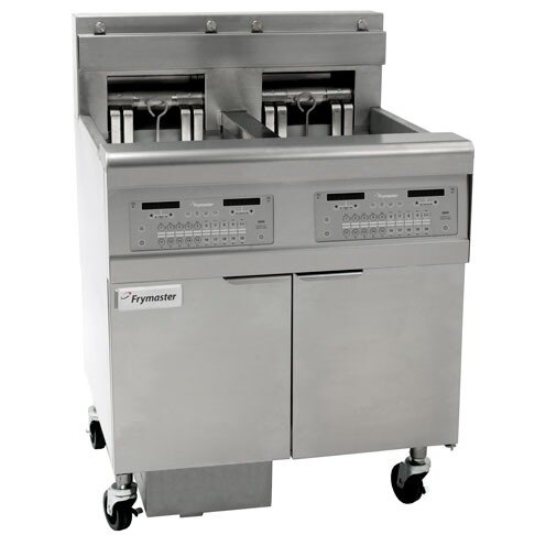 Frymaster FPEL317-2RC Electric Floor Fryer with Two Full Left Frypots / One Right Split Pot - 17 kW