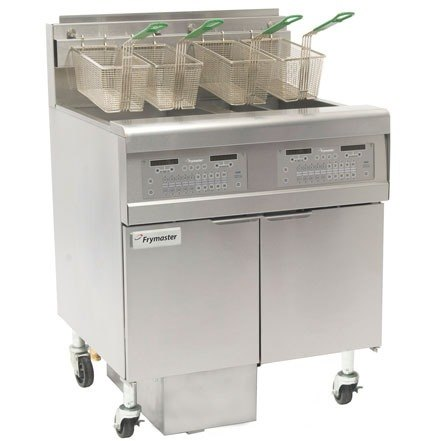Frymaster FPGL430-4LCA Gas Floor Fryer with Two Full Right Frypots / Two Left Split Pots and Automatic Top Off - 300,000 BTU