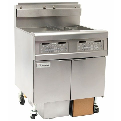 Frymaster FPGL430-4RC Gas Floor Fryer with Two Full Left Frypots / Two Right Split Pots - 300,000 BTU