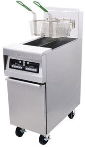 Frymaster H55-2BL-SD High Efficiency Split Pot Gas Fryer 50 lb. with Basket Lift - 80,000 BTU