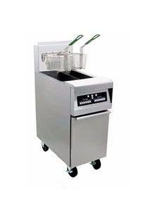 Frymaster MJ45E-2BLCSD Split Pot Gas Fryer 50 Pounds with Basket Lift and Computer Magic Controls - 127,000 BTU