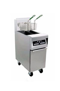 Frymaster MJ45E-2BLSC Split Pot Gas Floor Fryer 50 Pounds with Basket Lift - 127,000 BTU