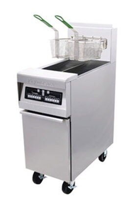 Frymaster MJ45E-2MSD Split Pot Gas Floor Fryer 50 Pounds with Melt Cycle - 127,000 BTU