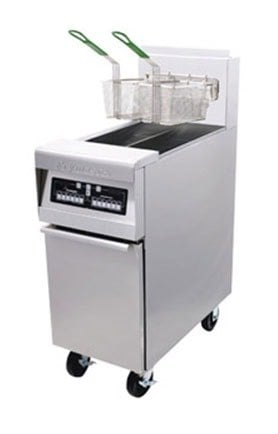 Frymaster MJ45E-2SC Split Pot Gas Floor Fryer 50 Pounds - 127,000 BTU