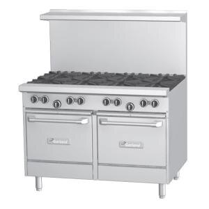 Garland G48-8SS 8 Burner 48 inch Gas Range with 2 Storage Bases