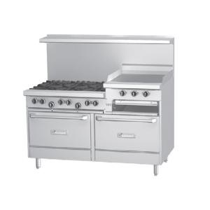 Garland G60-6R24RS 6 Burner 60 inch Gas Range with 24 inch Raised Griddle / Broiler, Standard Oven, and Storage Base - 269,000 BTU