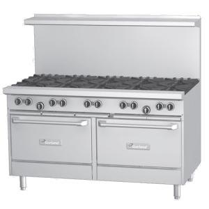 Garland G60-G60SS 60 inch Gas Range with 60 inch Griddle and 2 Storage Bases