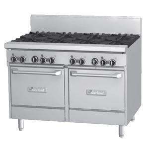 Garland GF48-4G24LL 4 Burner 48 inch Gas Range with Flame Failure Protection, 24 inch Griddle, and 2 Space Saver Ovens