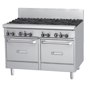 Garland GF48-8LL 8 Burner 48 inch Gas Range with Flame Failure Protection and 2 Space Saver Ovens