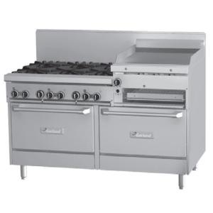 Garland GF60-6R24RS 6 Burner 60 inch Gas Range with Flame Failure Protection, 24 inch Raised Griddle / Broiler, Standard Oven, and Storage Base