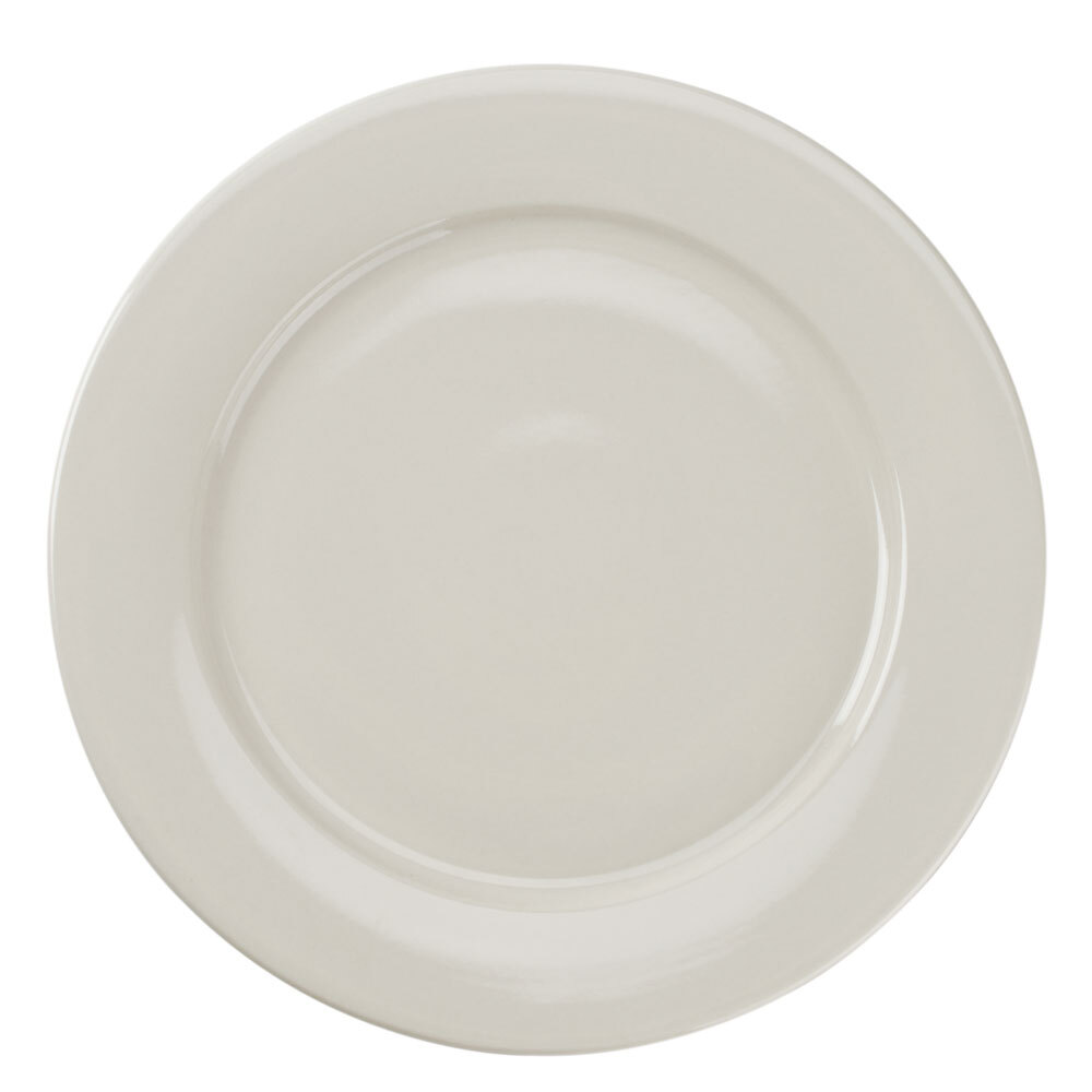American White (Ivory / Eggshell) Wide Rim 12 inch Rolled Edge China Plate 12 / Case