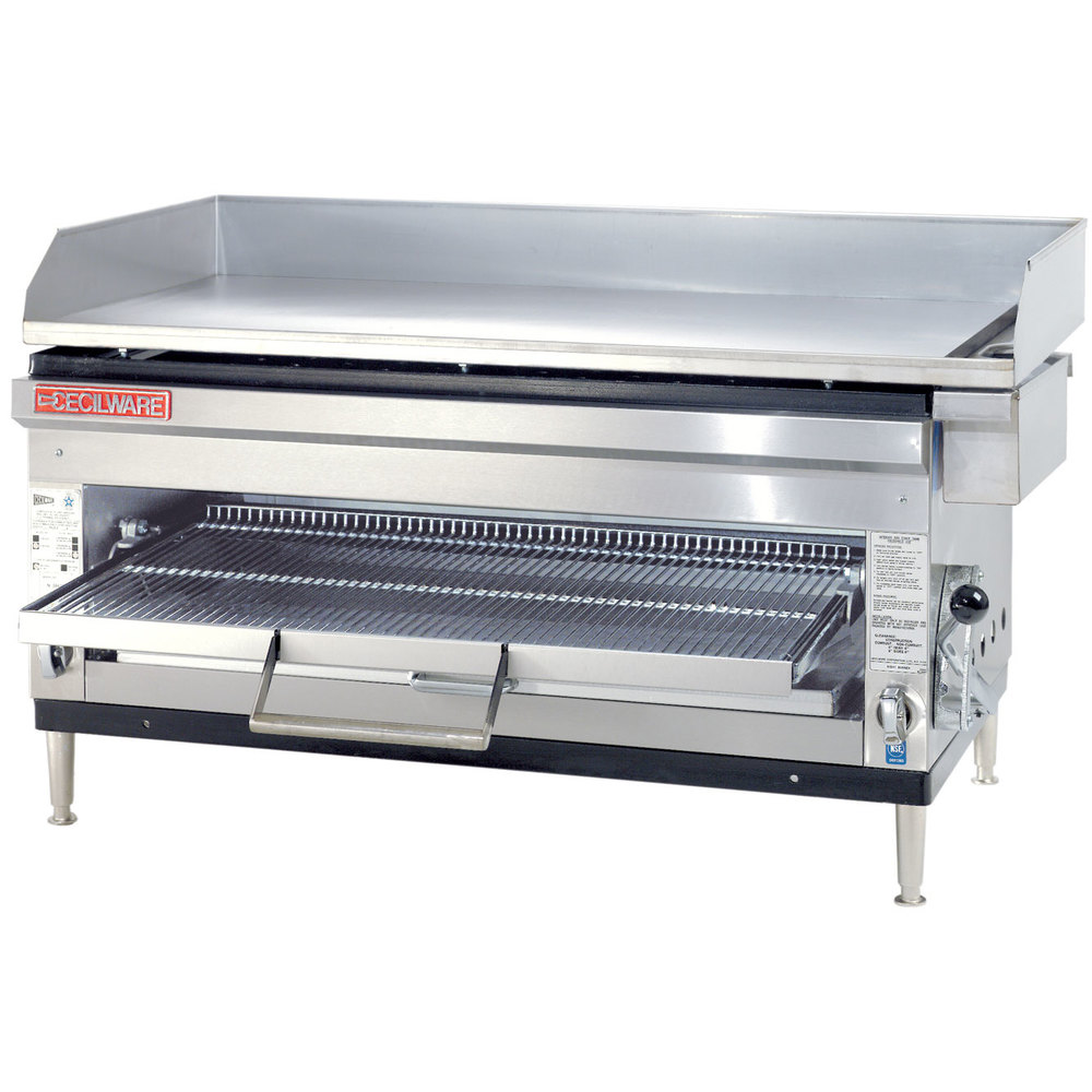 "Cecilware HDB2042 42"" Combination Gas Griddle and Cheese Melter with Adjustable Rack - 80,000 / 90,000 BTU"