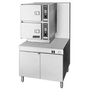 Cleveland 36-CGM-300 Classic Series Six Pan Gas Convection Floor Steamer with 36 inch Boiler Base