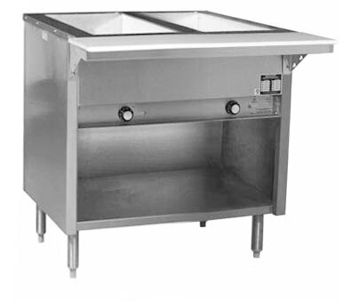 Eagle Group HT2OB Steam Table with Enclosed Base 7000 BTU - 2 Well - Open Well