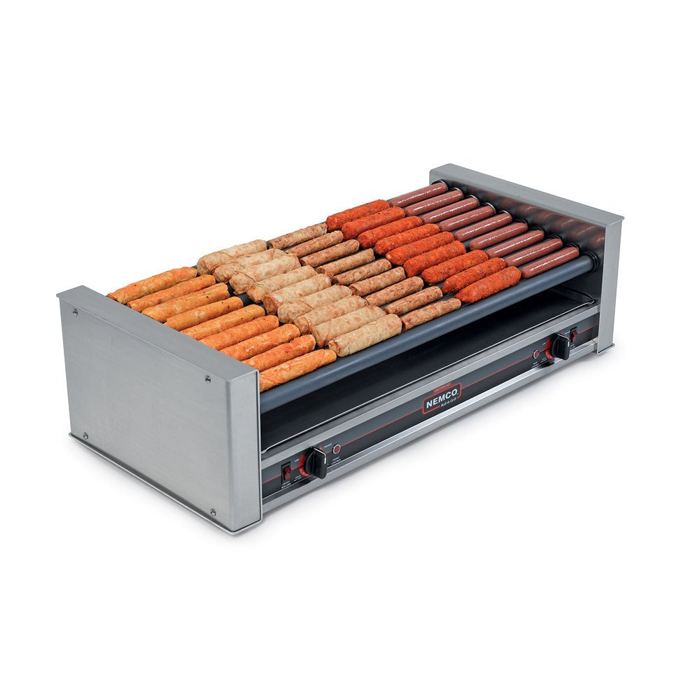 Nemco 8036SX-SLT Slanted Hot Dog Roller Grill with GripsIt Non-Stick Coating - 36 Hot Dog Capacity