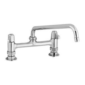 "Equip by T&S 5F-8DLX08 Deck Mount Swivel Base Mixing Faucet with 8"" Swing Nozzle and 8"" Centers - ADA Compliant"