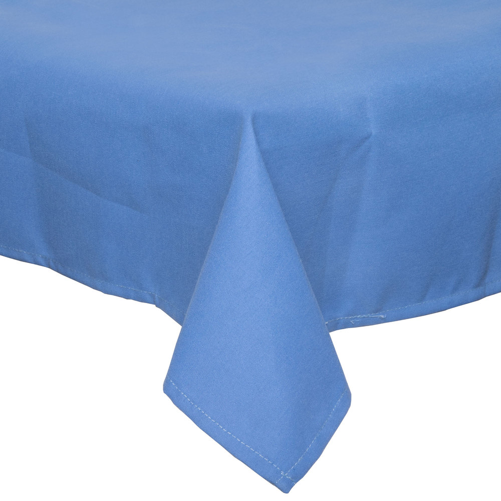 "72"" x 120"" Light Blue Hemmed Polyspun Cloth Table Cover"