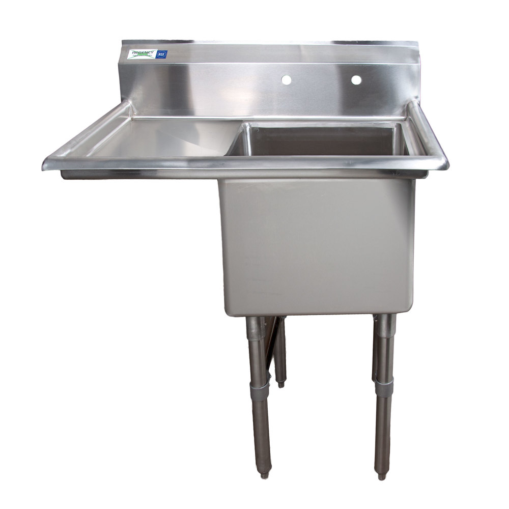 Regency 16 Gauge One Compartment Stainless Steel Commercial Sink With 1 Drainboard 38 1 2