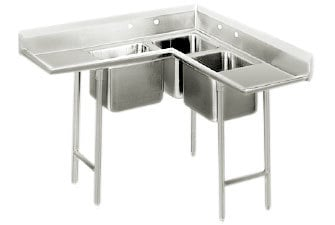 Advance Tabco 94-K5-11D Three Compartment Corner Sink with Two Drainboards - 84 inch