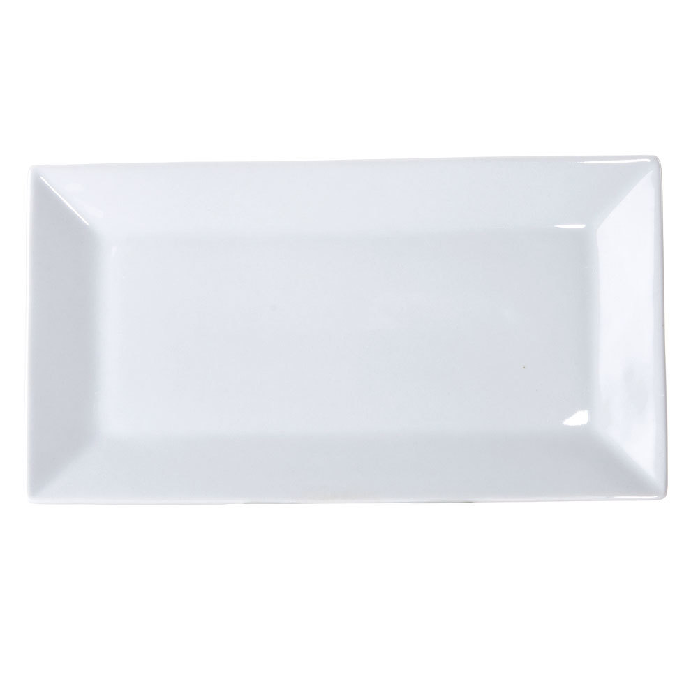 "10"" x 3 1/2"" Bright White Rectangular China Platter - 36 / Case"